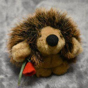 Valentine's Day Stuffed Hedgehog Holding a Rose